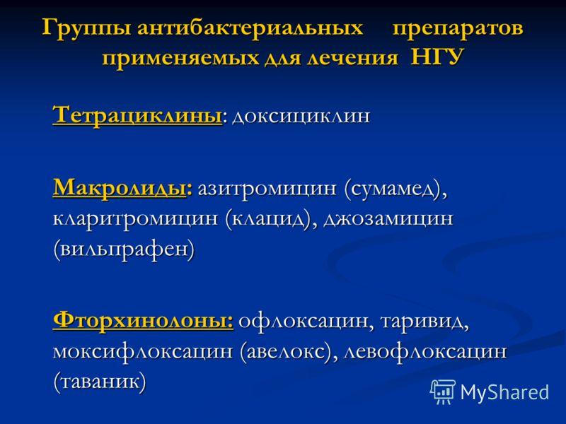Группы антибактериальных препаратов применяемых для лечения НГУ Тетрациклины: доксициклин Макролиды: азитромицин (сумамед), кларитромицин (клацид), джозамицин (вильпрафен) Фторхинолоны: офлоксацин, таривид, моксифлоксацин (авелокс), левофлоксацин (та