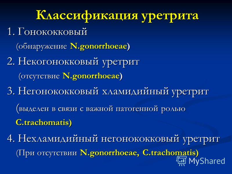 Классификация уретрита 1. Гонококковый (обнаружение N.gonorrhoeae) (обнаружение N.gonorrhoeae) 2. Некогонокковый уретрит (отсутствие N.gonorrhoeae) (отсутствие N.gonorrhoeae) 3. Негонококковый хламидийный уретрит ( выделен в связи с важной патогенной