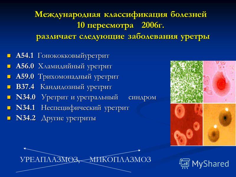 Международная классификация болезней 10 пересмотра 2006г. различает следующие заболевания уретры Международная классификация болезней 10 пересмотра 2006г. различает следующие заболевания уретры A54.1 Гонококковыйуретрит A54.1 Гонококковыйуретрит A56.
