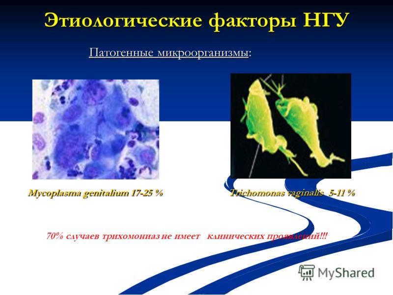 Этиологические факторы НГУ Мycoplasma genitalium 17-25 % Trichomonas vaginalis 5-11 % Патогенные микроорганизмы: 70% случаев трихомониаз не имеет клинических проявлений!!!