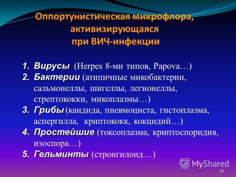 27 Оппортунистическая микрофлора, активизирующаяся при ВИЧ-инфекции 1.Вирусы 1.Вирусы (Herpes 8-ми типов, Papova…) 2.Бактерии 2.Бактерии (атипичные микобактерии, сальмонеллы, шигеллы, легионеллы, стрептококки, микоплазмы…) 3.Грибы 3.Грибы (кандида, п
