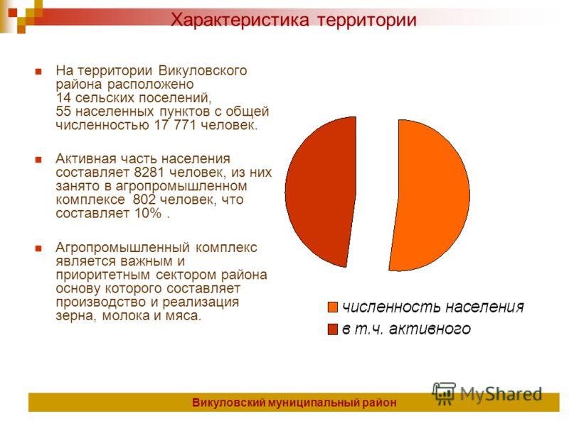 На территории Викуловского района расположено 14 сельских поселений, 55 населенных пунктов с общей численностью 17 771 человек. Активная часть населения составляет 8281 человек, из них занято в агропромышленном комплексе 802 человек, что составляет 1