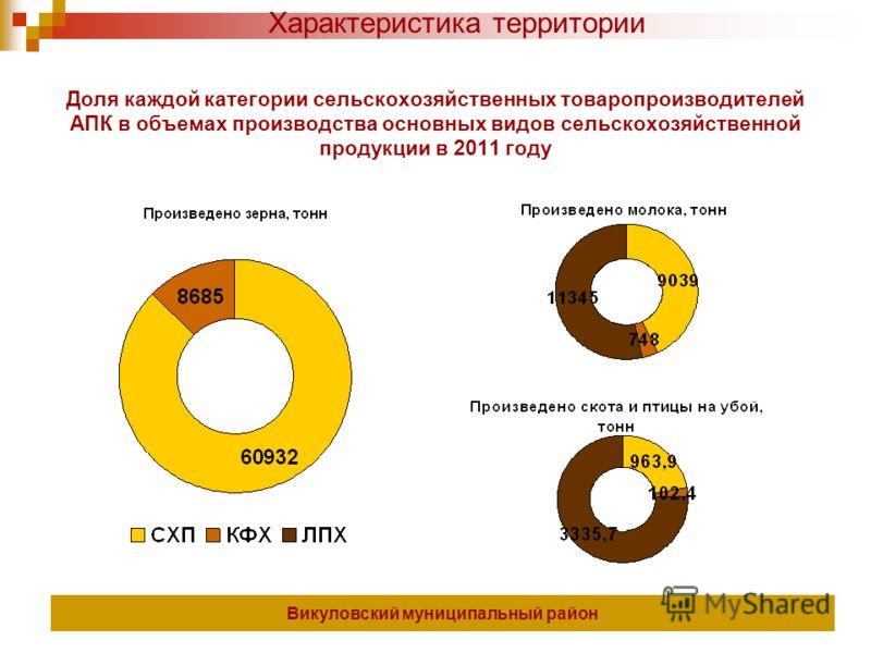 Доля каждой категории сельскохозяйственных товаропроизводителей АПК в объемах производства основных видов сельскохозяйственной продукции в 2011 году Викуловский муниципальный район Характеристика территории
