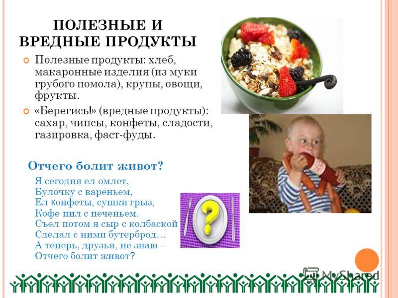 ПОЛЕЗНЫЕ И ВРЕДНЫЕ ПРОДУКТЫ Полезные продукты: хлеб, макаронные изделия (из муки грубого помола), крупы, овощи, фрукты. «Берегись ! » (вредные продукты): сахар, чипсы, конфеты, сладости, газировка, фаст-фуды. Отчего болит живот? Я сегодня ел омлет, Б