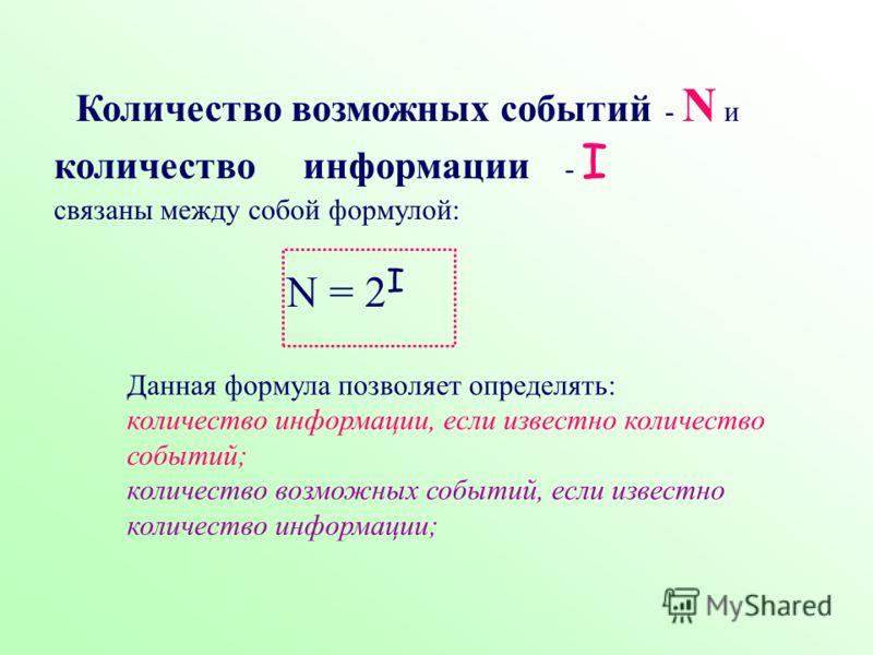 Количество возможных событий - N и количество информации - I связаны между собой формулой: N = 2 I Данная формула позволяет определять: количество информации, если известно количество событий; количество возможных событий, если известно количество ин