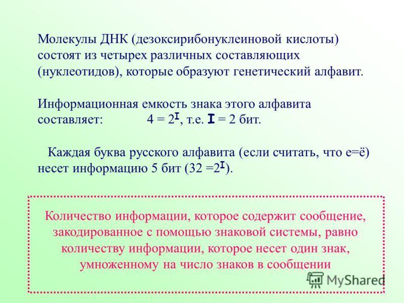 Молекулы ДНК (дезоксирибонуклеиновой кислоты) состоят из четырех различных составляющих (нуклеотидов), которые образуют генетический алфавит. Информационная емкость знака этого алфавита составляет: 4 = 2 I, т.е. I = 2 бит. Каждая буква русского алфав