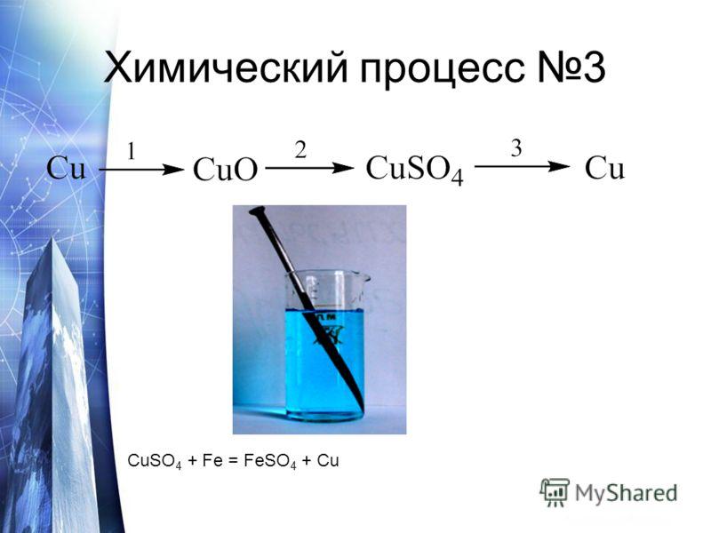 Химический процесс 3 CuSO 4 + Fe = FeSO 4 + Cu