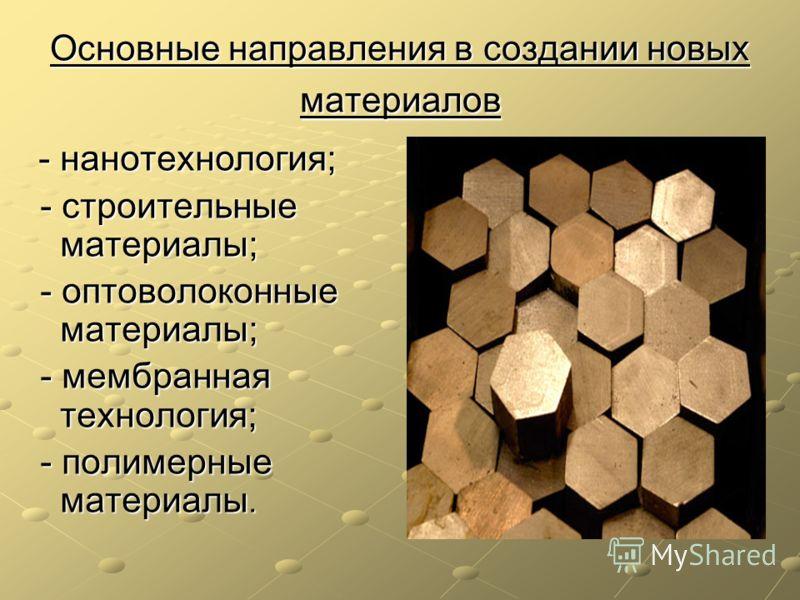 Основные направления в создании новых материалов - нанотехнология; - нанотехнология; - строительные материалы; - строительные материалы; - оптоволоконные материалы; - оптоволоконные материалы; - мембранная технология; - мембранная технология; - полим
