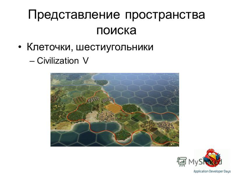 Представление пространства поиска Клеточки, шестиугольники –Civilization V