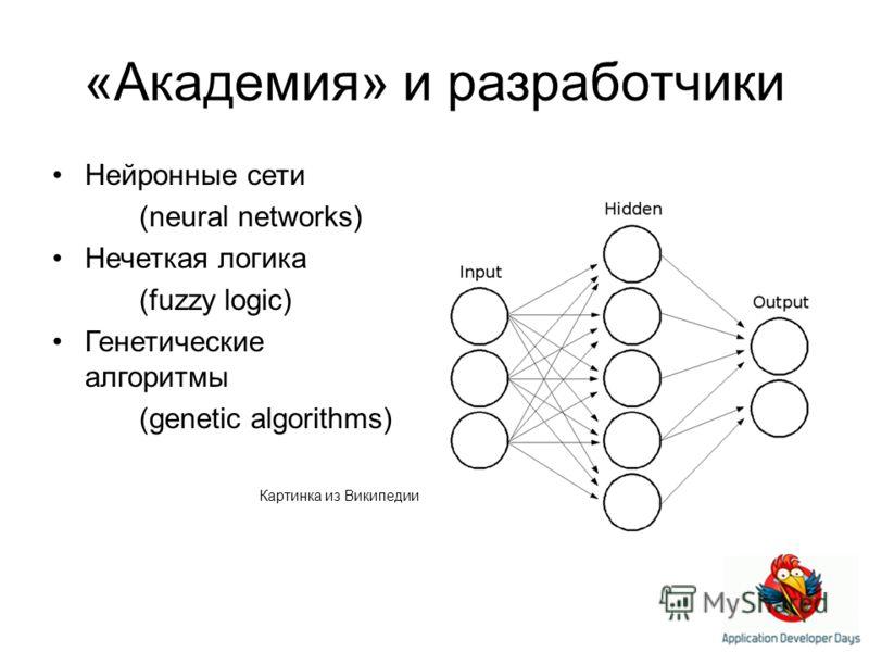 «Академия» и разработчики Нейронные сети (neural networks) Нечеткая логика (fuzzy logic) Генетические алгоритмы (genetic algorithms) Картинка из Википедии