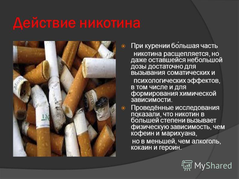 Действие никотина При курении бо́льшая часть никотина расщепляется, но даже оставшейся небольшой дозы достаточно для вызывания соматических и психологических эффектов, в том числе и для формирования химической зависимости. Проведённые исследования по