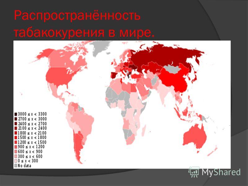 Распространённость табакокурения в мире.
