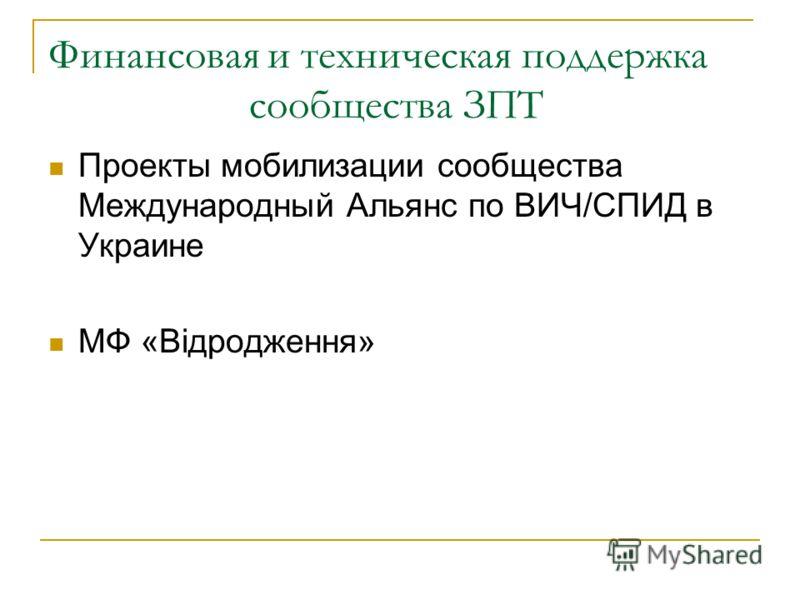 Финансовая и техническая поддержка сообщества ЗПТ Проекты мобилизации сообщества Международный Альянс по ВИЧ/СПИД в Украине МФ «Відродження»