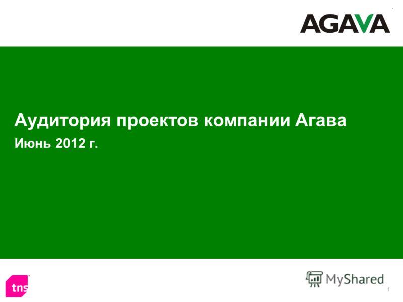 1 Аудитория проектов компании Агава Июнь 2012 г.
