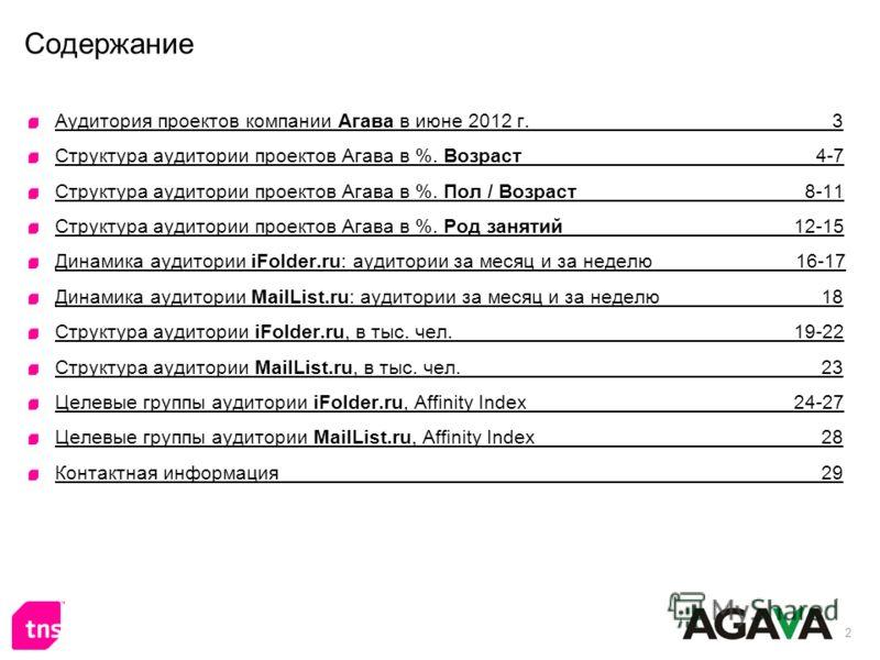 2 Содержание Аудитория проектов компании Агава в июне 2012 г. 3 Структура аудитории проектов Агава в %. Возраст 4-7 Структура аудитории проектов Агава в %. Пол / Возраст 8-11 Структура аудитории проектов Агава в %. Род занятий 12-15 Динамика аудитори
