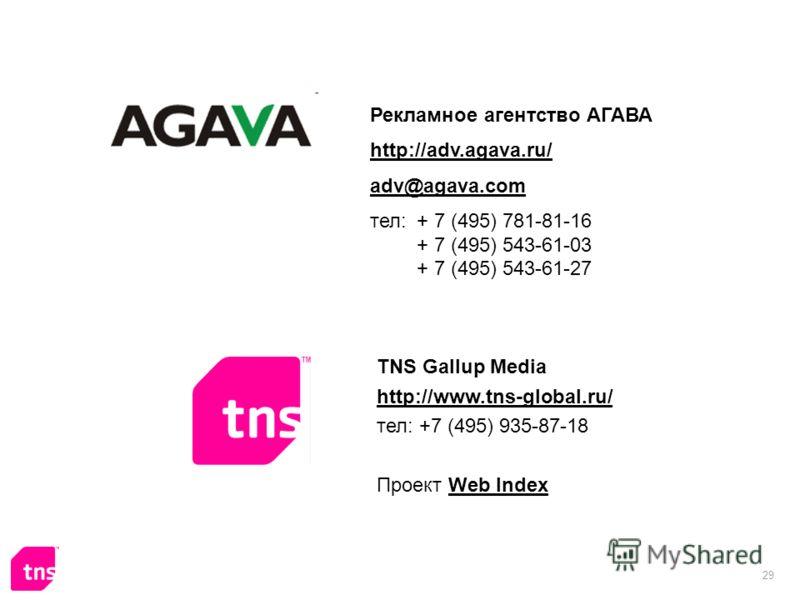 29 Рекламное агентство АГАВА http://adv.agava.ru/ adv@agava.com тел: + 7 (495) 781-81-16 + 7 (495) 543-61-03 + 7 (495) 543-61-27 TNS Gallup Media http://www.tns-global.ru/ тел: +7 (495) 935-87-18 Проект Web IndexWeb Index