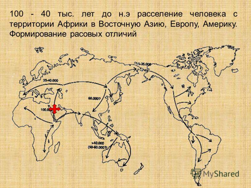 100 - 40 тыс. лет до н.э расселение человека с территории Африки в Восточную Азию, Европу, Америку. Формирование расовых отличий