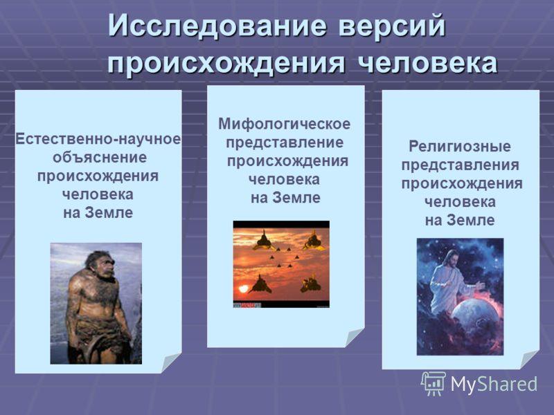 Исследование версий происхождения человека Естественно-научное объяснение происхождения человека на Земле Религиозные представления происхождения человека на Земле Мифологическое представление происхождения человека на Земле