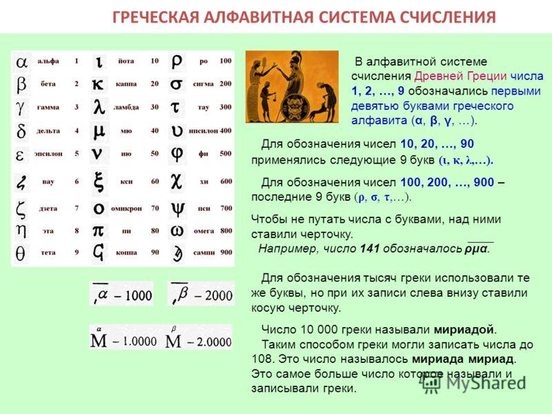 РИМСКАЯ СИСТЕМА СЧИСЛЕНИЯ В основе римской системы счисления лежали знаки I (один палец) для числа 1, V (раскрытая ладонь) для числа 5, Х (две сложенные ладони) для 10. Число обозначается набором стоящих подряд цифр. Значение числа определяется как с
