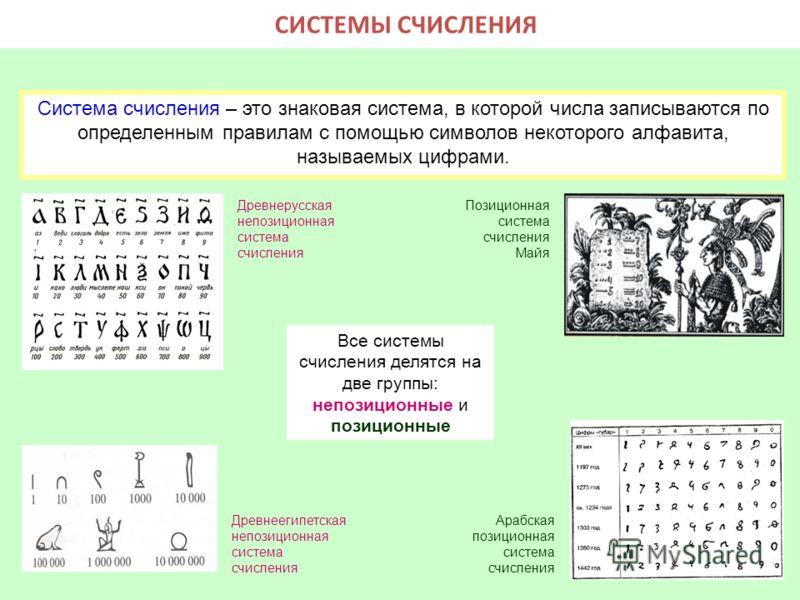 Система счисления - это совокупность правил для обозначения и наименования чисел. Системы счисления делятся на позиционные и непозиционные. Знаки, используемые при записи чисел, называются цифрами. Система счисления