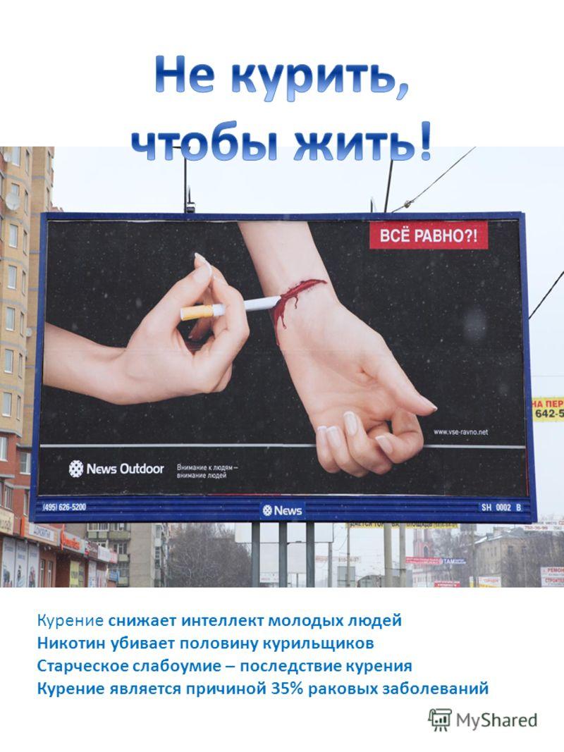 Курение снижает интеллект молодых людей Никотин убивает половину курильщиков Старческое слабоумие – последствие курения Курение является причиной 35% раковых заболеваний