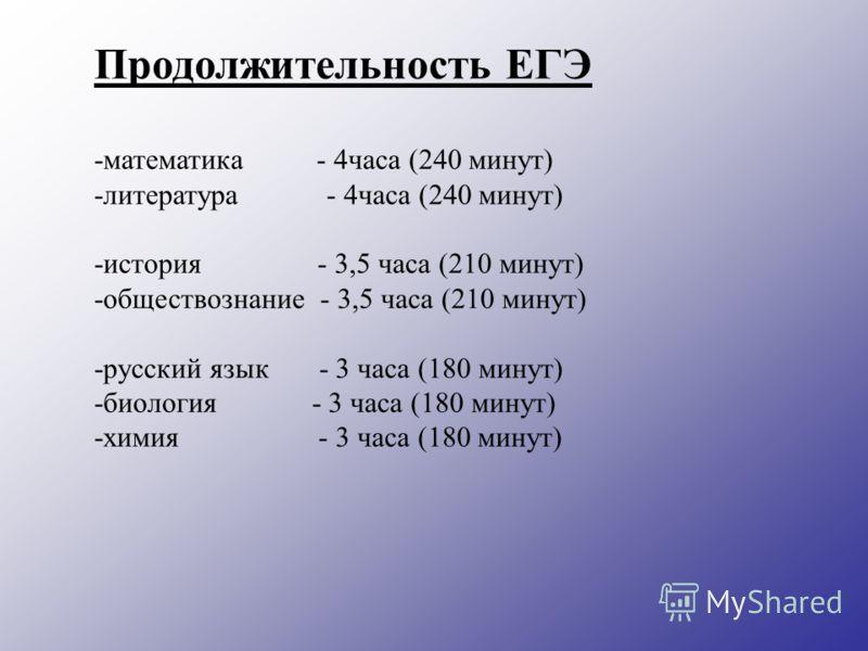 Продолжительность ЕГЭ -математика - 4часа (240 минут) -литература - 4часа (240 минут) -история - 3,5 часа (210 минут) -обществознание - 3,5 часа (210 минут) -русский язык - 3 часа (180 минут) -биология - 3 часа (180 минут) -химия - 3 часа (180 минут)