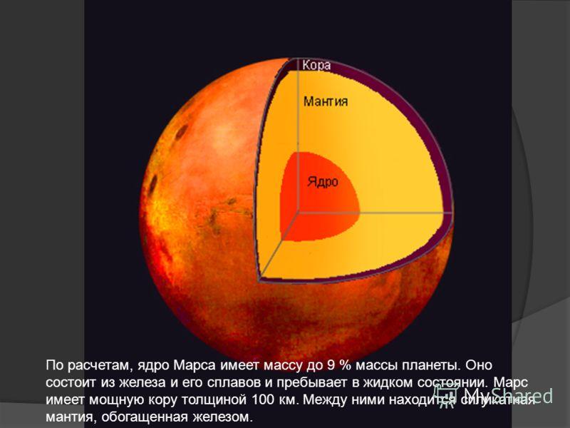 По расчетам, ядро Марса имеет массу до 9 % массы планеты. Оно состоит из железа и его сплавов и пребывает в жидком состоянии. Марс имеет мощную кору толщиной 100 км. Между ними находится силикатная мантия, обогащенная железом.