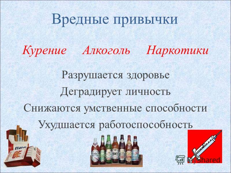 Вредные привычки Курение Алкоголь Наркотики Разрушается здоровье Деградирует личность Снижаются умственные способности Ухудшается работоспособность