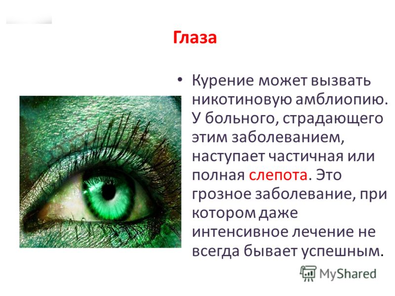 Глаза Курение может вызвать никотиновую амблиопию. У больного, страдающего этим заболеванием, наступает частичная или полная слепота. Это грозное заболевание, при котором даже интенсивное лечение не всегда бывает успешным.