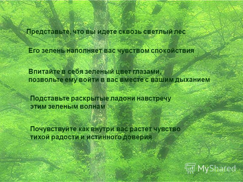 Представьте, что вы идете сквозь светлый лес Его зелень наполняет вас чувством спокойствия Впитайте в себя зеленый цвет глазами, позвольте ему войти в вас вместе с вашим дыханием Подставьте раскрытые ладони навстречу этим зеленым волнам Почувствуйте