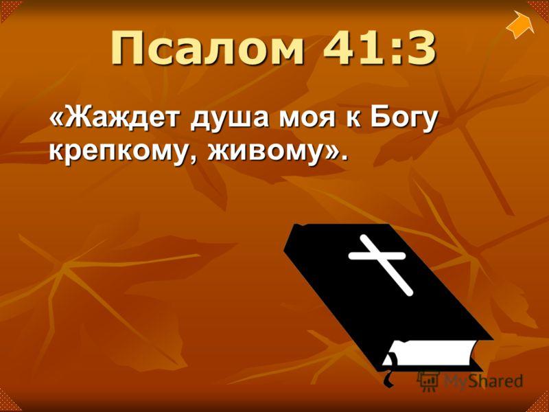 «Жаждет душа моя к Богу крепкому, живому». Псалом 41:3