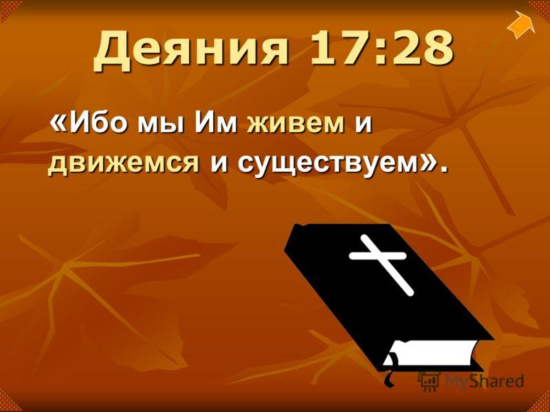 « Ибо мы Им живем и движемся и существуем ». Деяния 17:28