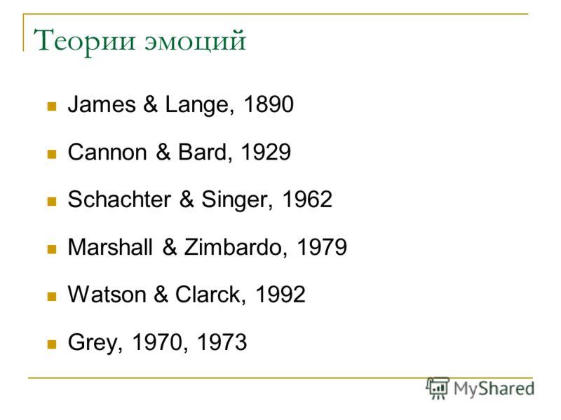 Теории эмоций James & Lange, 1890 Cannon & Bard, 1929 Schachter & Singer, 1962 Marshall & Zimbardo, 1979 Watson & Clarck, 1992 Grey, 1970, 1973