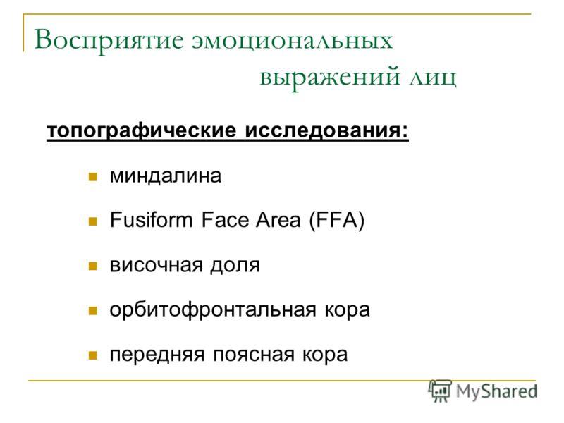 Восприятие эмоциональных выражений лиц топографические исследования: миндалина Fusiform Face Area (FFA) височная доля орбитофронтальная кора передняя поясная кора