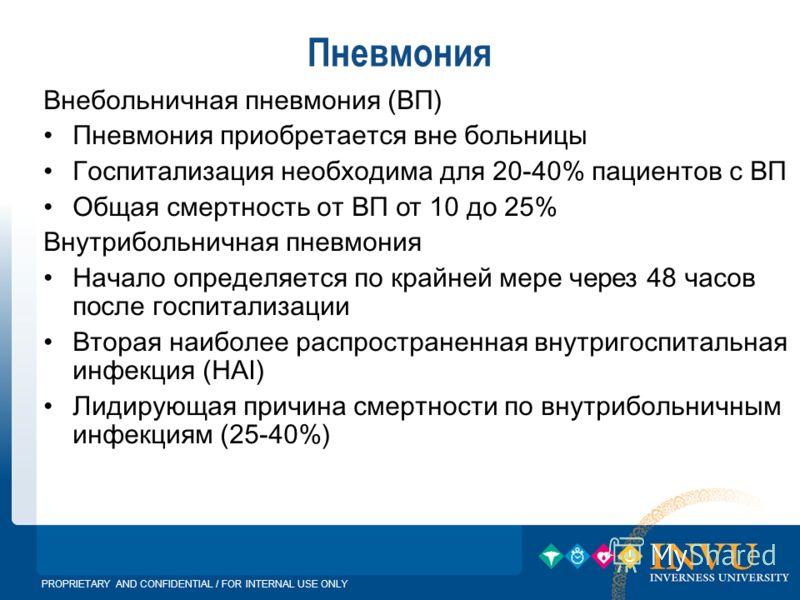 PROPRIETARY AND CONFIDENTIAL / FOR INTERNAL USE ONLY Пневмония Внебольничная пневмония ( ВП ) Пневмония приобретается вне больницы Госпитализация необходима для 20-40% пациентов с ВП Общая смертность от ВП от 10 до 25% Внутрибольничная пневмония Н ач