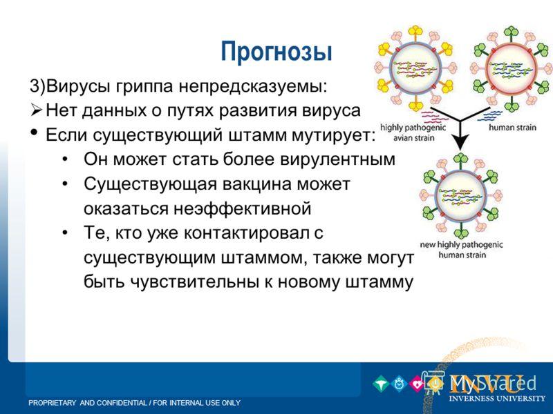 PROPRIETARY AND CONFIDENTIAL / FOR INTERNAL USE ONLY Прогнозы 3)Вирусы гриппа непредсказуемы: Нет данных о путях развития вируса Если существующий штамм мутирует: Он может стать более вирулентным Существующая вакцина может оказаться неэффективной Те,