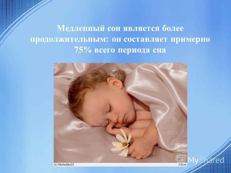Медленный сон является более продолжительным: он составляет примерно 75% всего периода сна