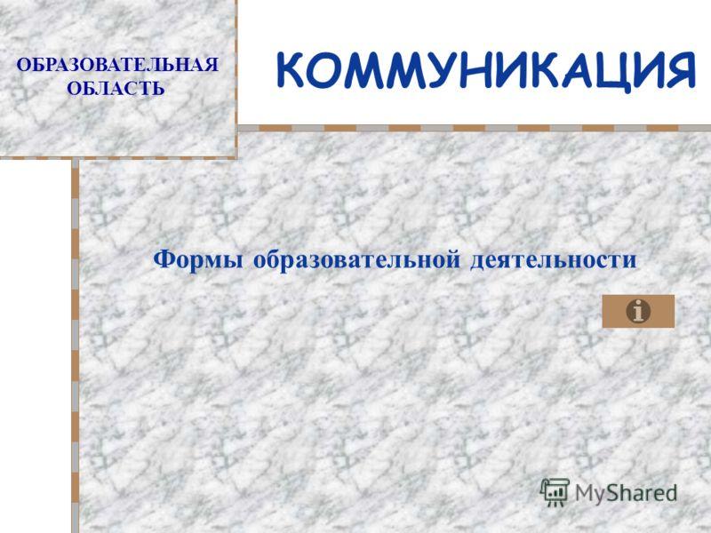 ОБРАЗОВАТЕЛЬНАЯ ОБЛАСТЬ КОММУНИКАЦИЯ Формы образовательной деятельности