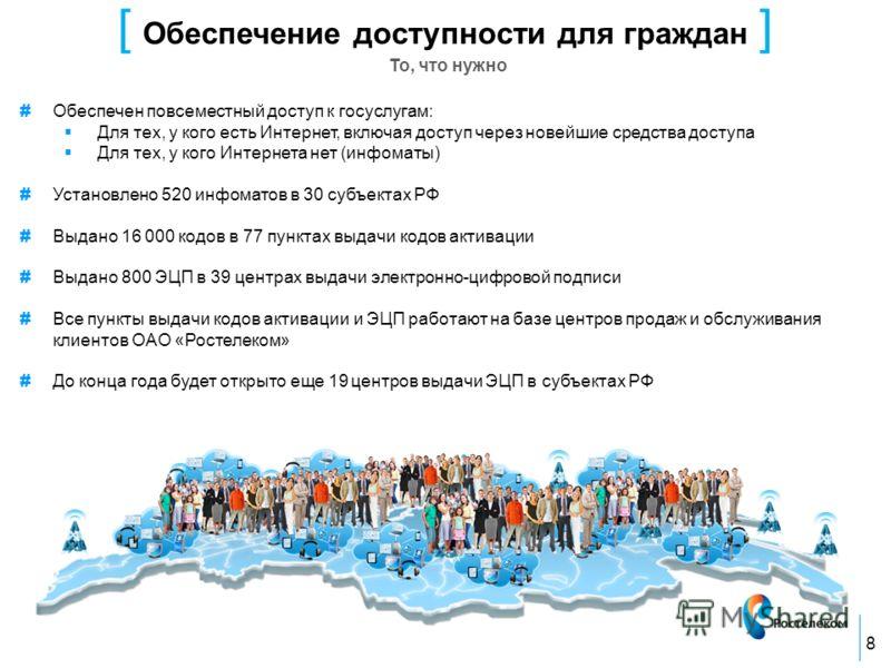 [ Обеспечение доступности для граждан ] То, что нужно 8 # Обеспечен повсеместный доступ к госуслугам: Для тех, у кого есть Интернет, включая доступ через новейшие средства доступа Для тех, у кого Интернета нет (инфоматы) # Установлено 520 инфоматов в
