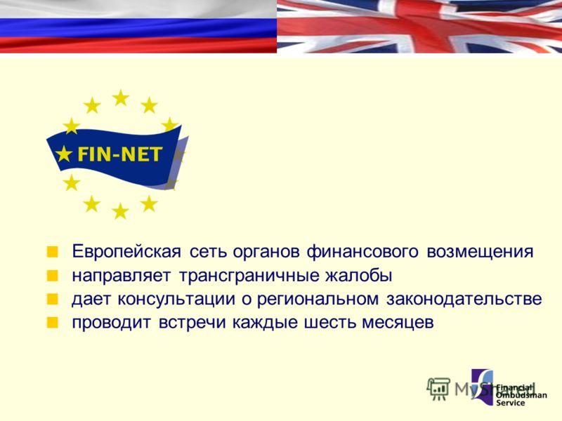 Европейская сеть органов финансового возмещения направляет трансграничные жалобы дает консультации о региональном законодательстве проводит встречи каждые шесть месяцев