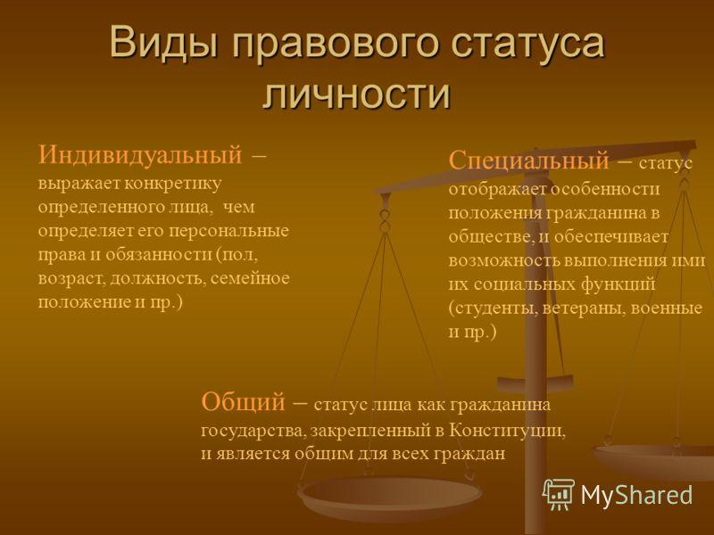 Понятие правового статуса личности его основные черты