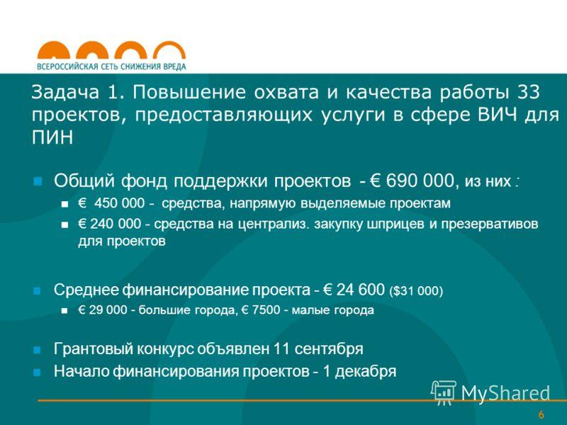 6 Общий фонд поддержки проектов - 690 000, из них : 450 000 - средства, напрямую выделяемые проектам 240 000 - средства на централиз. закупку шприцев и презервативов для проектов Среднее финансирование проекта - 24 600 ($31 000) 29 000 - большие горо