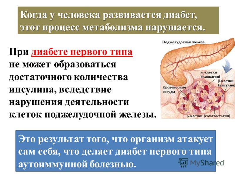Когда у человека развивается диабет, этот процесс метаболизма нарушается. При диабете первого типа не может образоваться достаточного количества инсулина, вследствие нарушения деятельности клеток поджелудочной железы. Это результат того, что организм