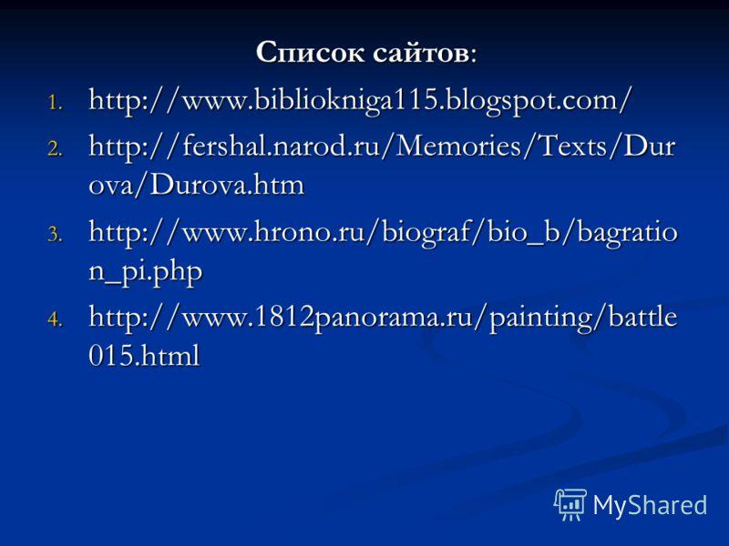 Список сайтов: 1. http://www.bibliokniga115.blogspot.com/ 2. http://fershal.narod.ru/Memories/Texts/Dur ova/Durova.htm 3. http://www.hrono.ru/biograf/bio_b/bagratio n_pi.php 4. http://www.1812panorama.ru/painting/battle 015.html