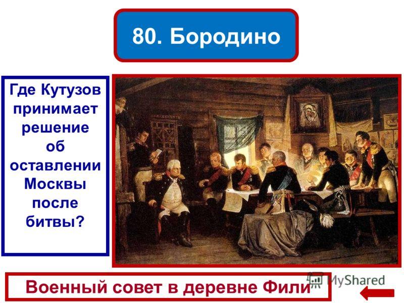 80. Бородино Военный совет в деревне Фили Где Кутузов принимает решение об оставлении Москвы после битвы?
