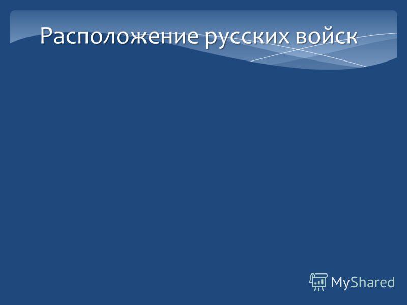 Расположение русских войск 1 армия. Барклай де Толли. (Литва) 2 армия. Багратион. ( Белоруссия) 3 армия. Тормасов. ( Украина).