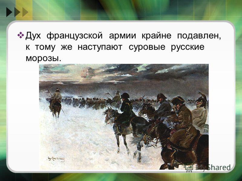 Дух французской армии крайне подавлен, к тому же наступают суровые русские морозы.