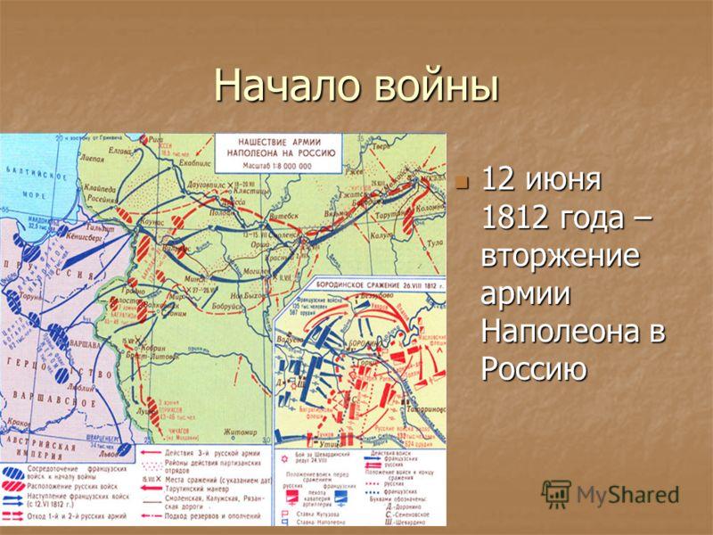 Начало войны 12 июня 1812 года – вторжение армии Наполеона в Россию 12 июня 1812 года – вторжение армии Наполеона в Россию