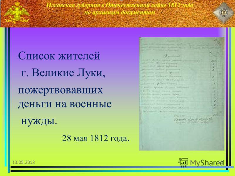 Список жителей г. Великие Луки, пожертвовавших деньги на военные нужды. 28 мая 1812 года. 13.05.201338