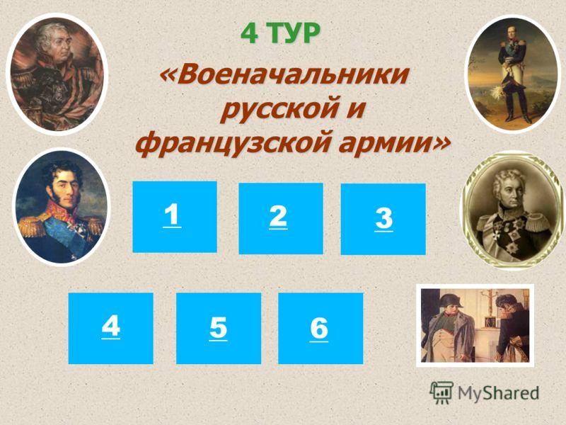 4 ТУР «Военачальники русской и французской армии» 12 3 4 5 6
